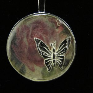 Butterfly on Rose Resin Pendant