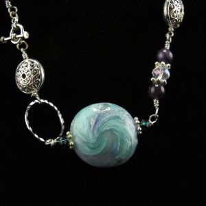 Lentil Swirl Bead Necklace with Amethyst and Swarovski Spacers