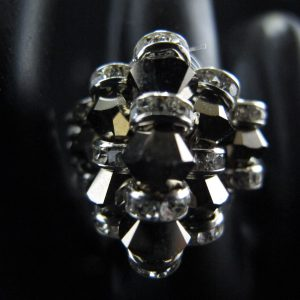 Swarovski Rondelle Ring – Silver Shade