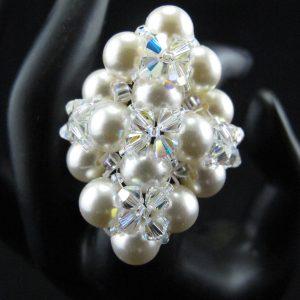 Swarovski Crystal & Pearl Ring