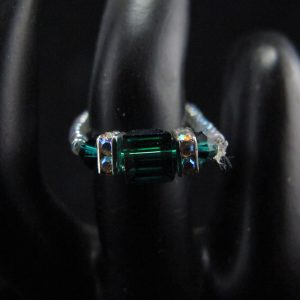 Swarovski Crystal Green Squaredelle Ring