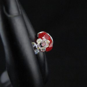 Red Swarovski Half Rondelle Ring
