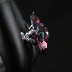 Backed Purple Swarovski Crystal Flower Ring