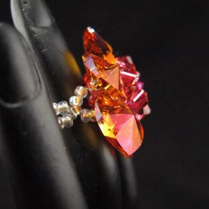 Orange & Pink Swarovski Crystal Flower Ring