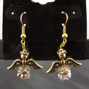 Christmas Angel Earrings in Gold with Pinkish Skirts