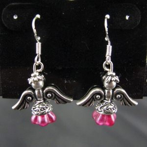 Christmas Angel Earrings in Silver with Fuchsia Skirts