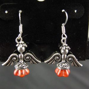 Christmas Angel Earrings in Silver with Coral Skirts