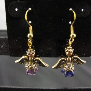 Christmas Angel Earrings in Gold with Blue Skirts