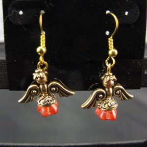 Christmas Angel Earrings in Gold with Coral Skirts