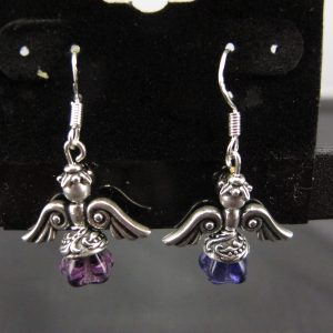 Christmas Angel Earrings in Silver with Blue Skirts