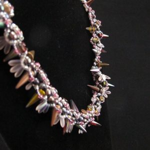 'Pink' Spike Necklace with Glass Pearls