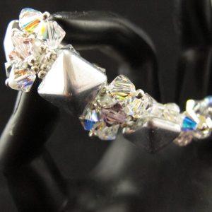 Silver Pyramid and Swarovski Crystal Bracelet
