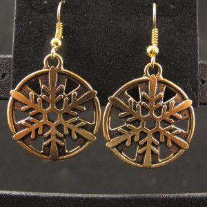 Large 22K Gold Plated Snowflake Earrings