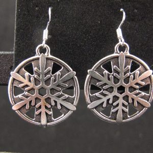 Large Silver Plated Snowflake Earrings