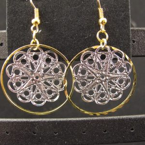 Silver & Gold Plated Filigree Snowflake Earrings