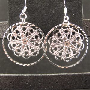 Silver Plated Filigree Snowflake Earrings