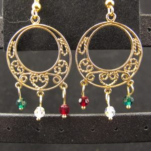Christmas Chandelier Earring with Swarovski Crystals