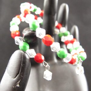 Christmas Memory Wire Bracelet with Fire Polish Crystals