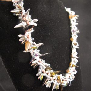 Spike Necklace with Glass Pearls