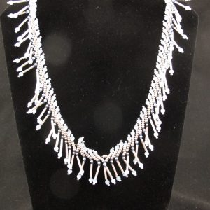 """""""Bugle Bead"""" Necklace with Blue Cat's Eye Crystals"""