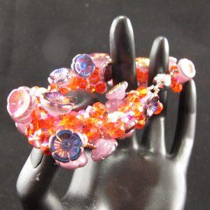 Fire Polish & Czech Flowers Bracelet