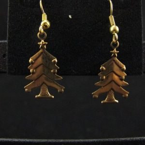 Gold Plated Xmas Tree Earrings