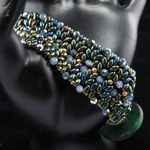 Green & Gold Button Bracelet