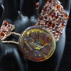 Orange, Pink & Gold Button Bracelet